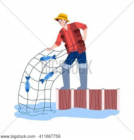 Young Man Fishing With Net, Flat Cartoon Vector Illustration Isolated On White Background. Fisherman