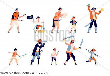 Pirates Characters. Cartoon Pirate, Marine Robber Men And Boys. Ocean Traveller Characters, Childish