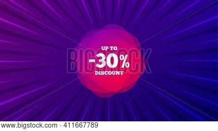 Up To 30 Percent Discount Off Banner. Purple Background With Offer Message. Sale Sticker Shape. Coup