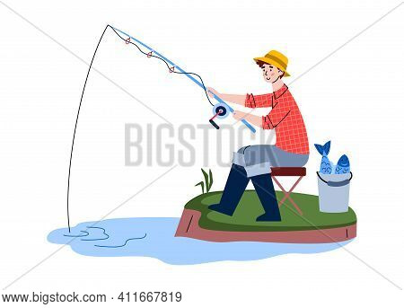 Fisherman Sitting On Shore With Catch In Bucket And Fishing Rod In Water. Outdoor Hobby, Activity An