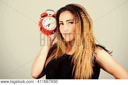 Watch Repair. Few Minutes. Time Management. Punctuality And Discipline. Woman Hold Red Alarm Clock.