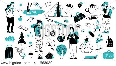 .vacation Characters. Travelling Suitcase, Isolated Tourism Friends With Backpacks. Young Travel Gir