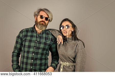 Today Is A Good Day. Hipster Couple. Bearded Man With Dyed Hair And Stylish Girl In Sunglasses. Fash