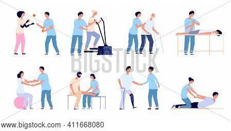 Physiotherapy. Medical Treatment, Injuries Rehabilitation Therapy. Healthcare Physical Training, Med