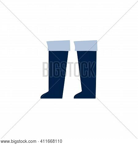 Fishers And Hunters Wellington High Rubber Boots, Cartoon Vector Illustration Isolated On White Back