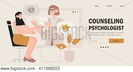 Psychological Therapy Counseling Or Online Consultaion Concept Banner. Psycologist Provide Professio