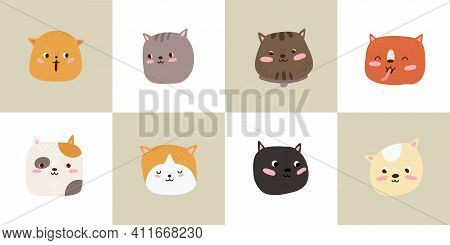 Cute Cats. Cartoon Cat Heads, Kitten Faces Cards Set. Flat Adorable Pets, Baby Stickers With Animals