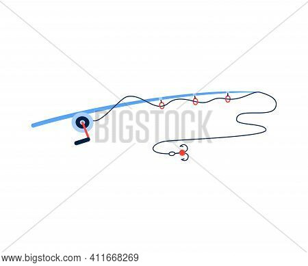Fishing Rod Icon, Spinning With Reel, Hook And Bait, Tool For Catch Fish. Leisure Or Hobby Outdoors.