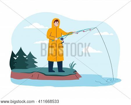 Fisherman Catch Fish Standing On Shore. Man In Yellow Raincoat Holds Fishing Rod In Water And Waits