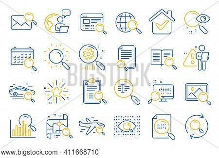 Search Line Icons. Photo Indexation, Artificial Intelligence, Car Rental Icons. Airplane Flights, We