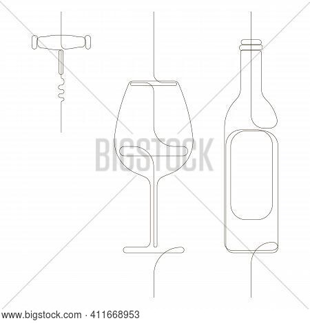 Continuous Single Drawn One Line Set Of A Bottle Of Wine, A Glass And A Corkscrew. Hand-drawn Pictur