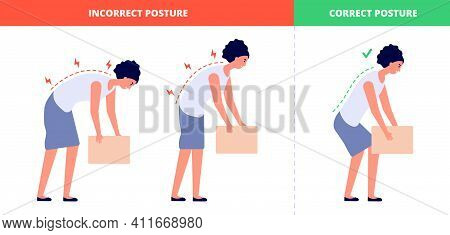 Correct Lift Heavy. Safety Health Back, Flat Woman Lifting Box Postures. Proper Technique Load For S