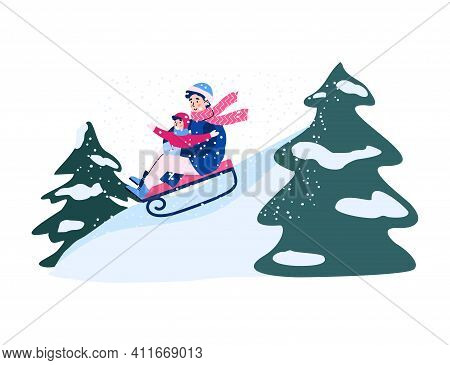 Parent And Kid Together Sledding Slide On Nature. Winter Fun Riding On Sled, Family Outdoors Leisure