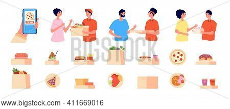 Online Order And Delivery. Phone Food Shopping, Health Meal And Goods Courier Service. Man Customer