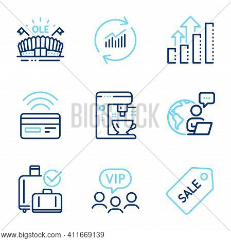 Business Icons Set. Included Icon As Sports Arena, Update Data, Sale Ticket Signs. Coffee Maker, Con