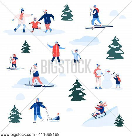 Set Of Winter Fun Outdoor Active For Happy Family. Children And Adults Ride Sledges, Skis, Skates, P