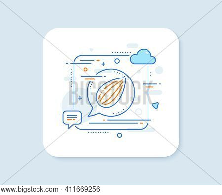 Almond Nut Line Icon. Abstract Square Vector Button. Tasty Nuts Sign. Vegan Food Symbol. Almond Nut