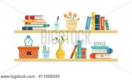 Wide Light Bookshelf, Office Shelf, Wall, Interior, Bookshelf, Library Shelf. Flat Vector Illustrati