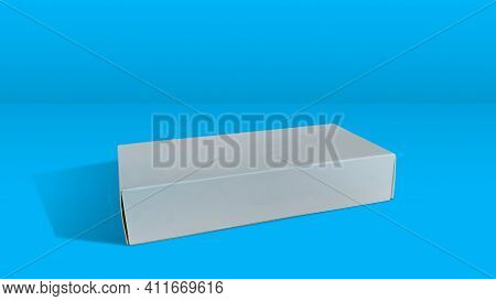 White Folding Cartons Isolated On Blue Color Background. Paperboard Boxes Side View. Straight Tuck E