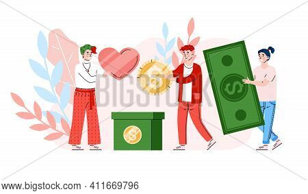 Money Charity And Donation. Female Volunteer With Love Collect Coin And Banknotes In Donate Box. Soc