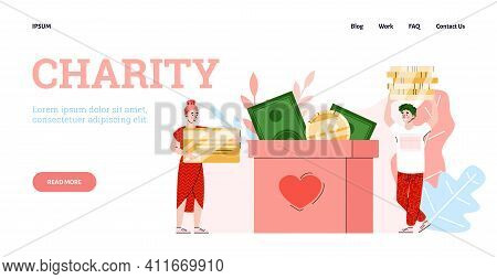 Charity, Donation And Help For Poor, Needy And Homeless People. Girl And Guy Puts Of Money In Donate