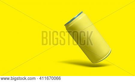 Yellow Sleek Cans Isolated On Yellow Color Background. Suitable For Drinks Packaging Mock Up