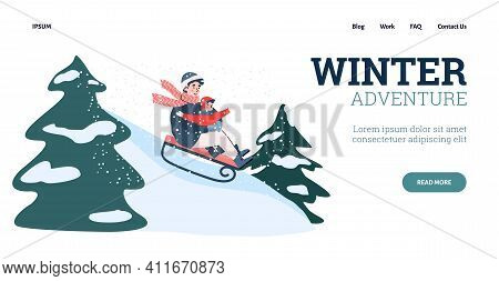 Parent And Kid Together Sledding Slide On Nature. Winter Fun Riding On Sled, Adventure, Family Outdo