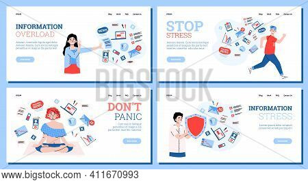 Information Stress Concept. Tired Overload People Under Pressure Of Data, Work And Breaking News Try