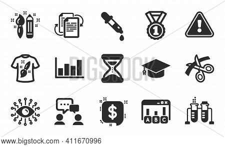 Best Rank, Bureaucracy And Chemistry Pipette Icons Simple Set. Chemistry Beaker, T-shirt Design And