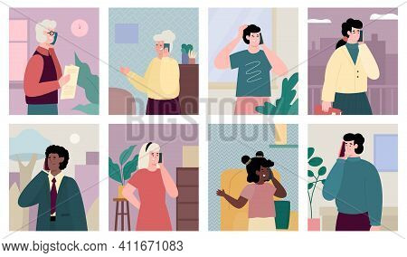 People Of Different Ages And Genders Talking On Mobile Phone, Set Of Vector Illustrations. Collectio
