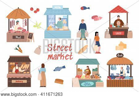 Street Market Set With Local Farmers Cartoon Characters Behind Stall Counters. Local Market Booths A