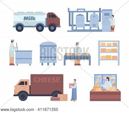 Cheese Production Process. Technology Of Making Dairy Product From Milk Pasteurization To Fermentati