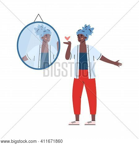Woman Sending Sign Of Love To Her Reflection In The Mirror, Cartoon Vector Illustration Isolated On