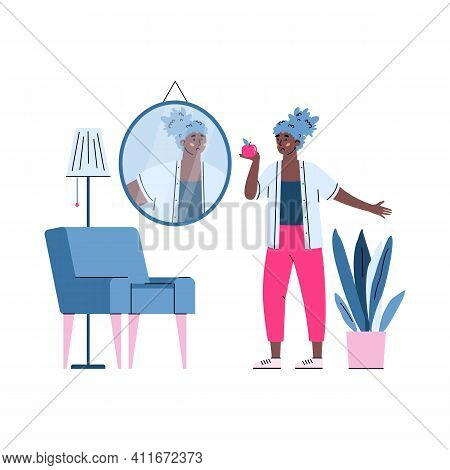 Unhappy Woman Looking In Mirror With Dissatisfaction Of Personal Appearance. Concept Of Body Rejecti