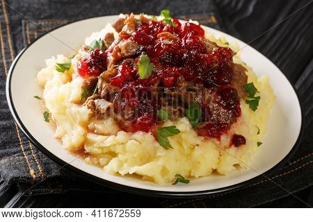 Braised Venison With Mashed Potatoes And Lingonberry Sauce Close-up In A Plate On The Table. Horizon