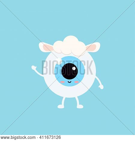 Easter Cute Eye Ball In Sheep Costume Icon. Ophthalmology Easter Eyeball Character With Lamb Sheep S