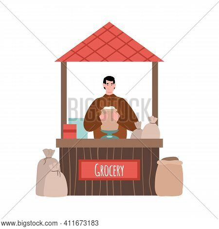Street Market Counter With Marketer Selling Grocery Production, Cartoon Vector Illustration Isolated