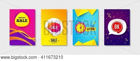 Last Minute, Day Sale And Sale Bubble Promo Label Set. Sticker Template Layout. Ok Sticker Sign. Ban