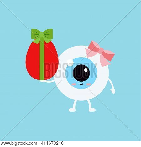 Easter Cute Eye Ball With Red Egg Icon. Ophthalmology Easter Eyeball Girl Character With Red Egg Wit