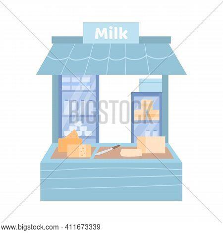 Street Fairground Stall With Dairy Farm Production, Cartoon Vector Illustration Isolated On White Ba