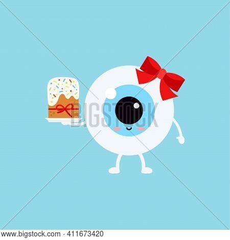 Easter Cute Eye Ball Easter Cake Icon. Ophthalmology Easter Eyeball Character With Sweet Decorated C