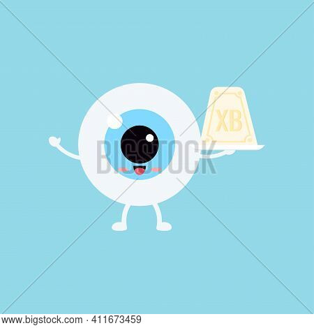 Easter Cute Eye Ball Curd Easter On White Plate Icon. Ophthalmology Easter Eyeball Character With Sw