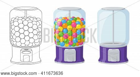 Gumball Machine, Empty Dispenser. Vector Cartoon Set Of Vending Machine With Colored Bubble Gums And