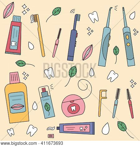 Dental Cleaning Tools Set. Vector Illustration In Flat Style. Irrigator, Dental Floss, Mouthwash, To