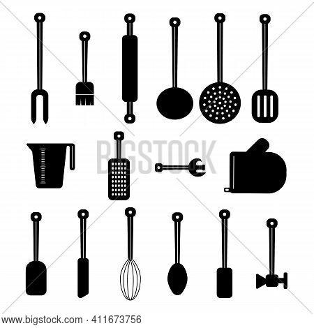Kitchen Utensil Set. Whisk, Grater, Opener, Glove, Ladle, Rolling Pin Hatchet Pastry Brush Simple Ve