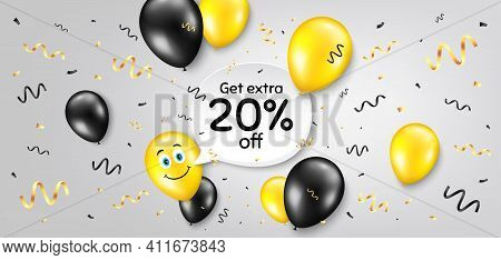 Get Extra 20 Percent Off Sale. Balloon Confetti Vector Background. Discount Offer Price Sign. Specia