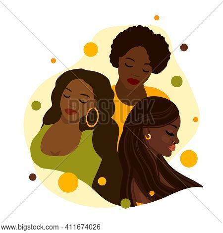 Beautiful Black Womans. Young African American Girls. Tolerance And No Racism Concept.