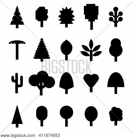 A Set Of Trees In A Simple Style. Vector Illustration In Black. Spruce, Conifers, Geometric, Differe