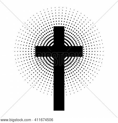 Christian Cross With Abstract Dotted Sun Rays. Christian Cross Icon. Black Religion Symbol. Vector I