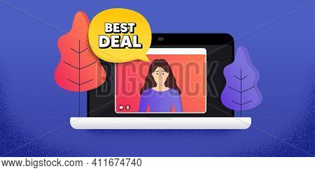 Best Deal. Video Call Conference. Remote Work Banner. Special Offer Sale Sign. Advertising Discounts